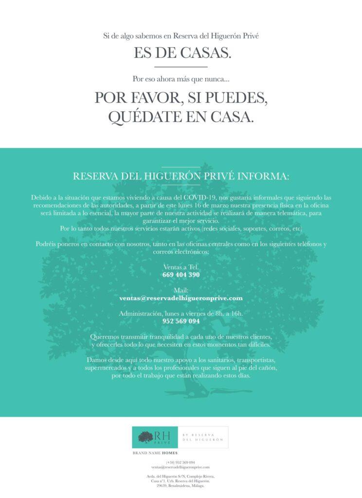 Comunicado Oficial Reserva del Higuerón Privé | COVID-19 1